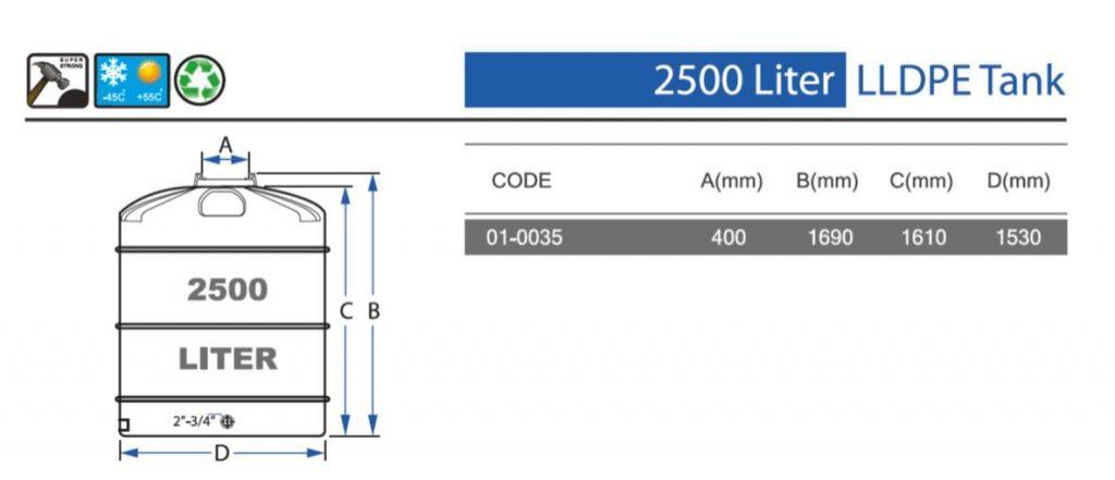 מפרט מכל אגירה בנפח 2500 ליטר